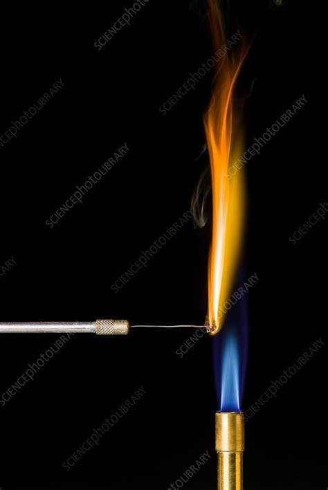 Iron flame test - Stock Image C015/0441 - Science Photo