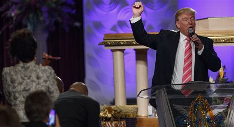 Trump flashes humility in first ever black church visit