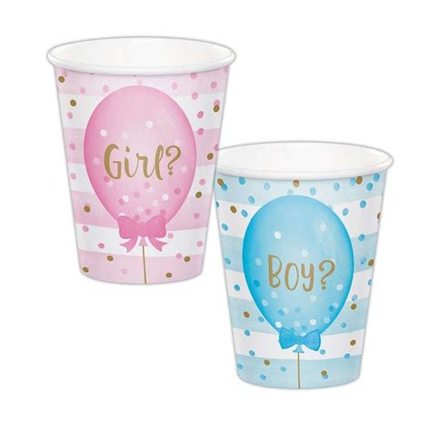 Gender Reveal Balloons Paper Cups (Pack of 8) - Baby