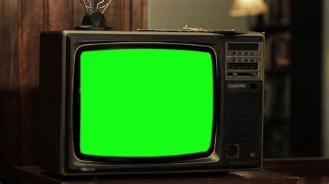 Old Tv Green Screen, Close-Up