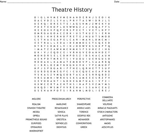 Theatre Arts History Word Search - WordMint