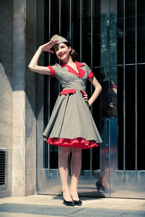 Military Lady Dress with hat: vintage / pin-up