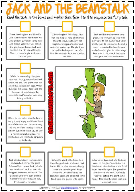 Jack and the Beanstalk ESL Sequencing the Story Worksheet