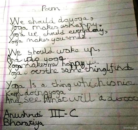 Poems on Yoga by children