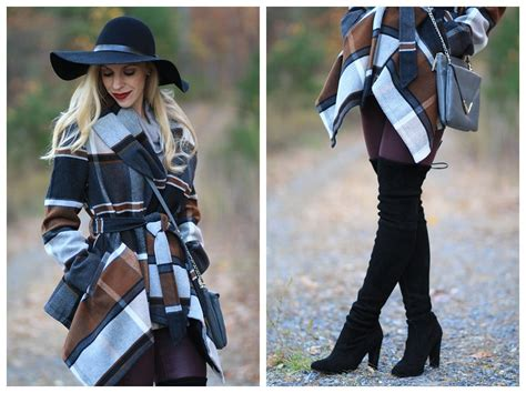 { Into the Woods: Plaid wrap coat, Burgundy leather pants
