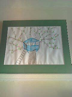 Tree blossom treehouse oil pastel drawing in 2020   Oil