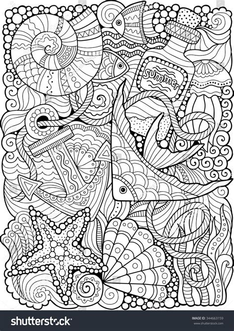 Vector Coloring Book Adult Summers Sea   Nature
