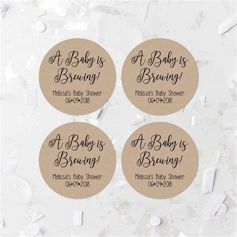 A Baby Is Brewing Coffee Label, Editable Template, Kraft