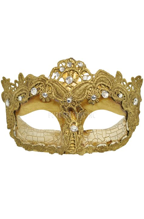 Shattered Lace Masquerade Mask (Gold) - PureCostumes