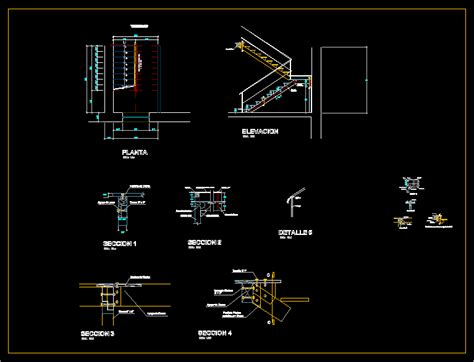 Wood staircase in AutoCAD   CAD download (159