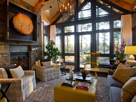 Rustic Living Room With Oversized Plaid Prints   HGTV